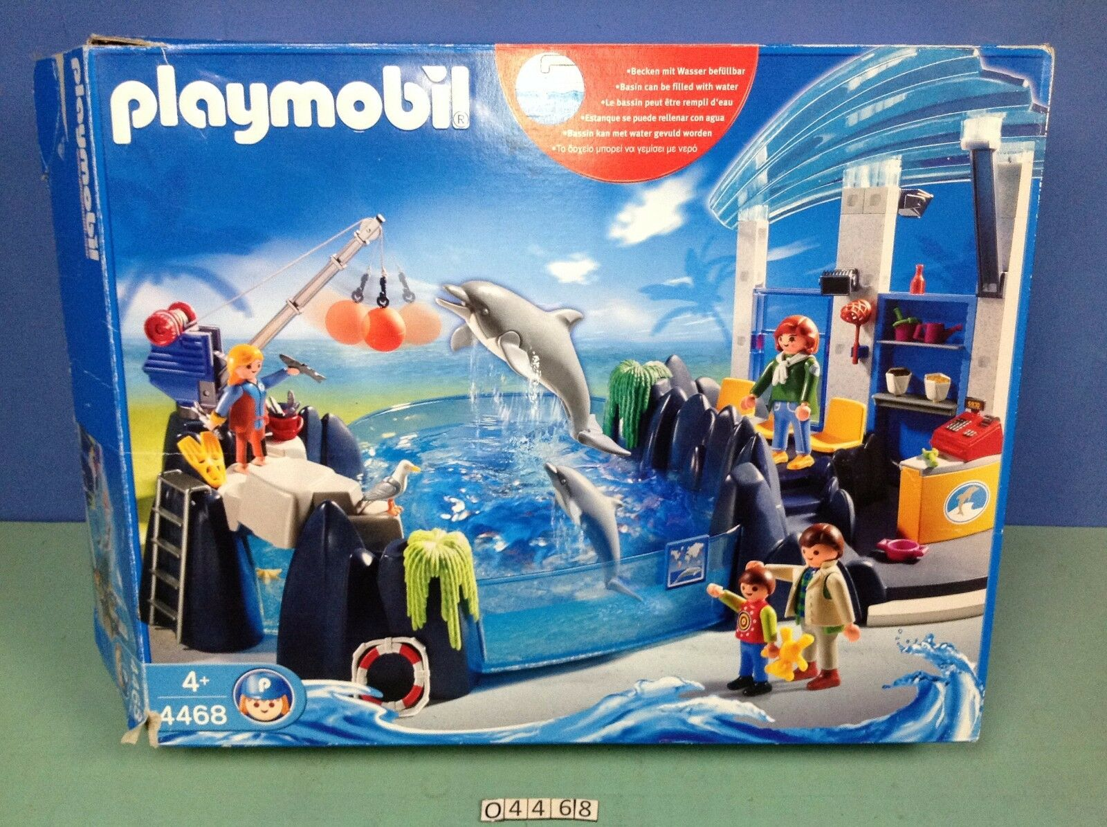(O4468) playmobil Bassin des dauphins ref 4468 complet en boite zoo 3240 4462