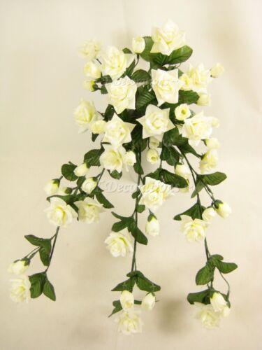 Wired fleurs artificielles rose crème de fuite usine pour accrocher corbeilles mariage