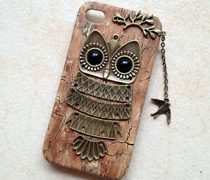 Owl-with-Branch-bird-pendant-Wood-Hard-Case-Cover-for-iPhone-5-case