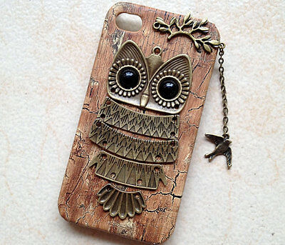 Owl with Branch ,bird pendant Wood Hard Case Cover for iPhone 5c case