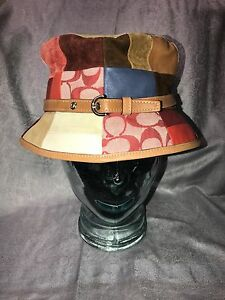 611e92be532 NWT COACH WOMENS MULTI COLOR LEATHER AND PATCHWORK CRUSHER HAT M L ...