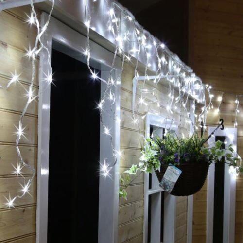 Navidad Interior Xmas Brillante Led Carámbanos Nieve Luces Interior Navidad Casa Árbol Blanco 1d5ffc