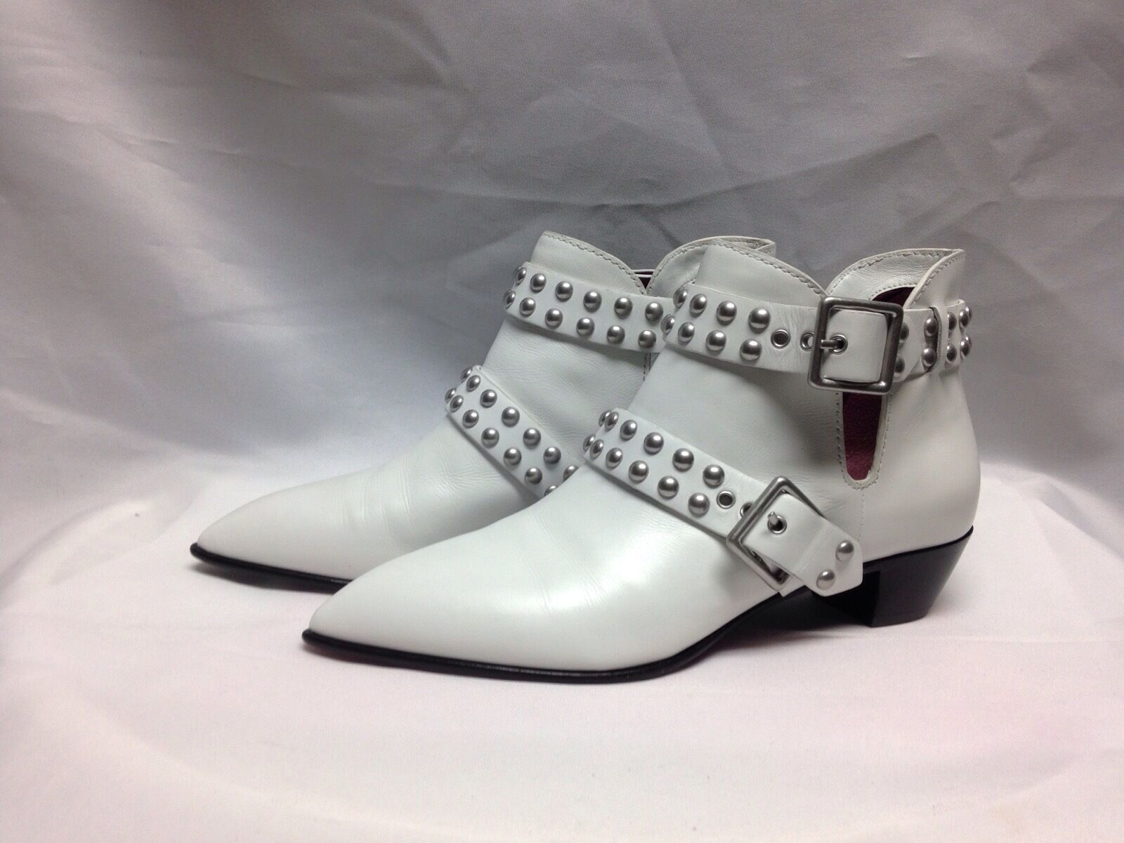 Marc Jacobs Carrol 2 Strap Studded Ankle Boot 5 M White Leather  New w/ Box