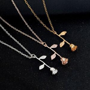 Halskette-Kette-Rose-Herz-Strass-Gold-Silber-Rosegold-Blume
