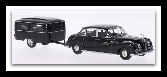 Merveilleux MODELCAR BMW 502 1962 avec Corbillard-Remorque-noir-échelle 1 43