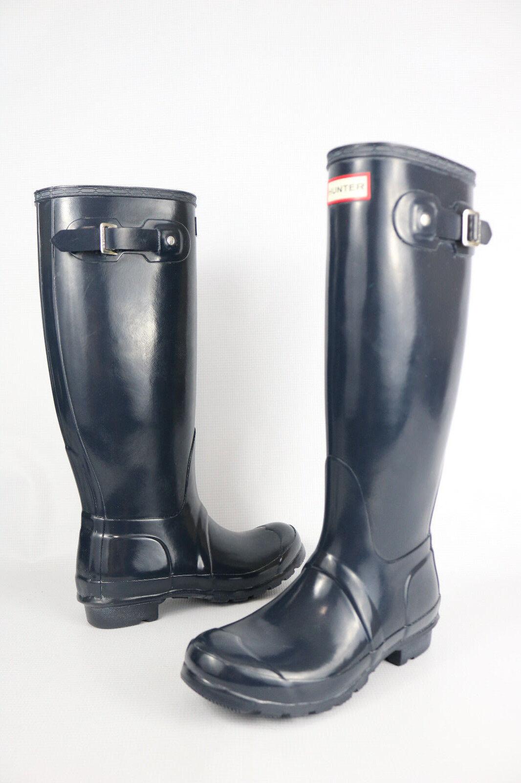 supporto al dettaglio all'ingrosso Hunter Original Tall Gloss Gloss Gloss Rain stivali 6 US Navy blu WFT1000RGL Wellies donna  negozio online