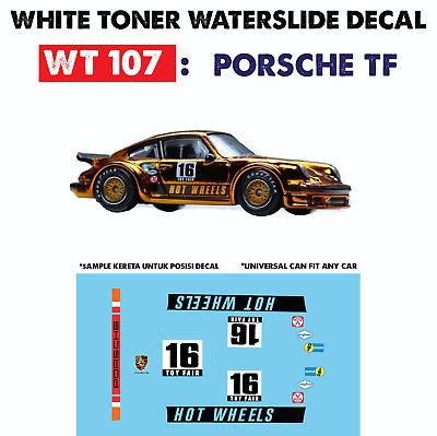 Wt107 White Toner Waterslide Decal Porsche Tf For Custom 1 64 Hot Wheels Ebay