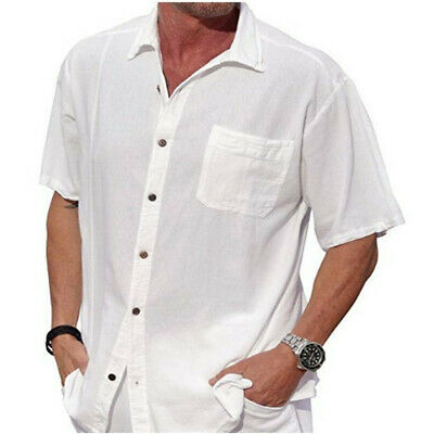 Mens Button Down Shirts Blouse V Neck Summer Lapel Casual Long Sleeve Tops Plain