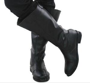 Stivali uomo da in nera da pelle in cowboy cowboy britannici Goth Punk da pelle BqASBxHWw