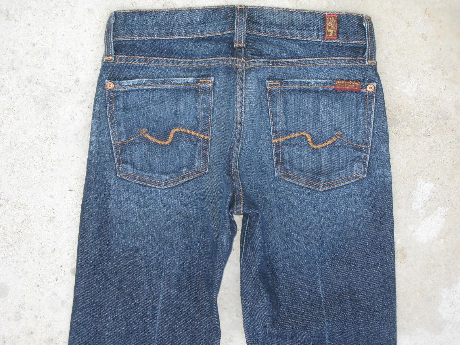 7 for all Mankind Womens Bootcut Jeans Dark Distressed Wash Sz 23