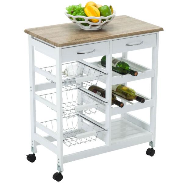 Kitchen Island Table Ebay: Oak Kitchen Island Cart Trolley Portable Rolling Storage