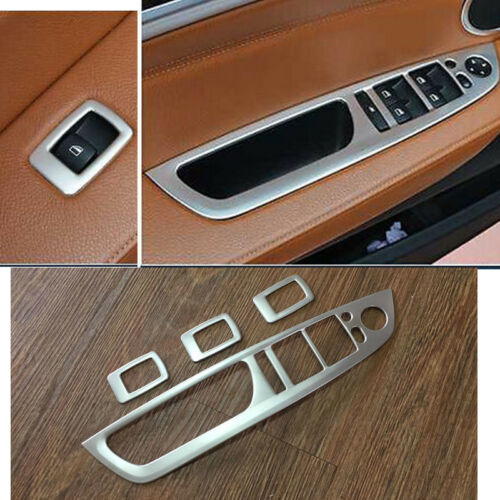 Steel Matt Door Armrest Window Switch Cover Trim 4pcs for BMW X5 E70 2007-2013