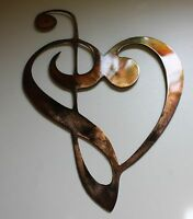 Metal Wall Art Decor Music Heart Notes Musical Clef Copper/brz Plated