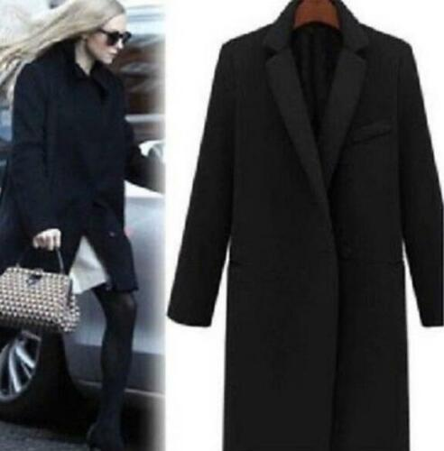 Womens One Buttton Wool Cashmere Blend Winter Trench Coat Outwear Parka Casual#