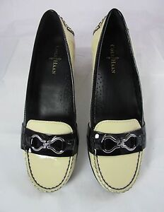 fbf8f67cf5e COLE HAAN WOMEN S FLAT LOAFER SHOES CREAM   BLACK PATENT LEATHER ...