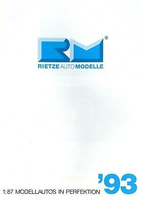 Rietze Automodelle Katalog 1993 Prospekt Modellautos Catalog Model Cars Brochure Das Ganze System StäRken Und StäRken