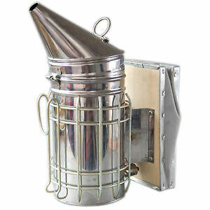 """New 11""""x4"""" Beekeeping Equipment Bee Hive Smoker Stainless Steel with Heat Shield"""