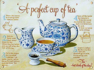 New 15x20cm PERFECT CUP OF TEA instructions vintage enamel style tin metal sign