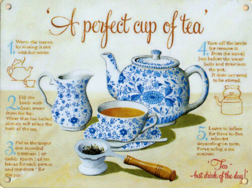 New 15x20cm Perfect Cup of Tea instructions small metal wall sign