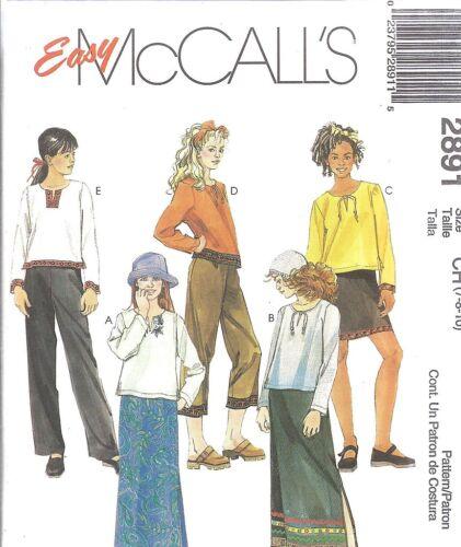UNCUT McCalls Sewing Pattern Little Girls Shirt Skirt Pants 2891 NEW FF OOP SEW
