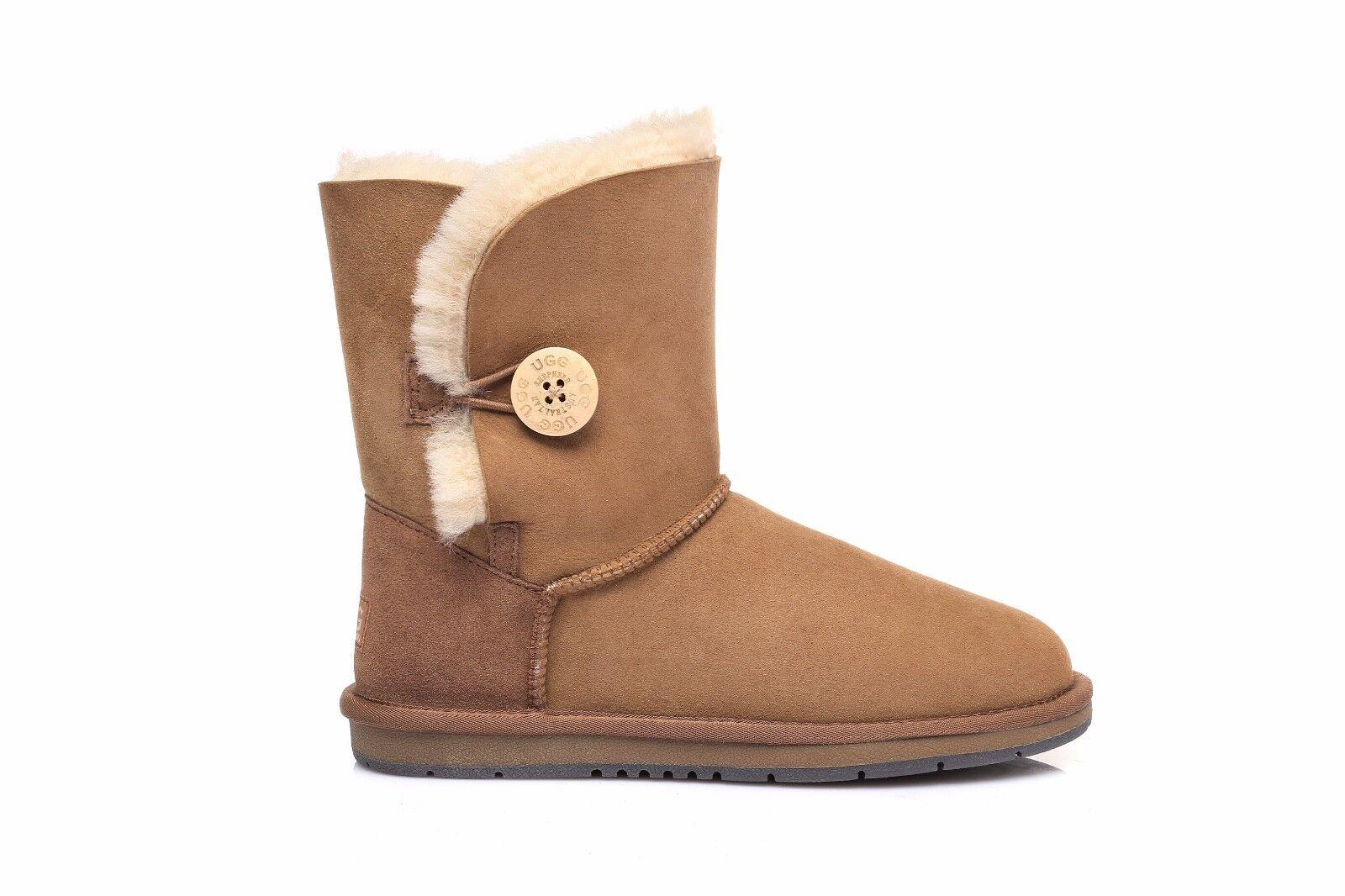6f8d06dc67e Details about UGG Women Short Classic Button Boots -Australian Premium  Sheepskin Wool Non-Slip