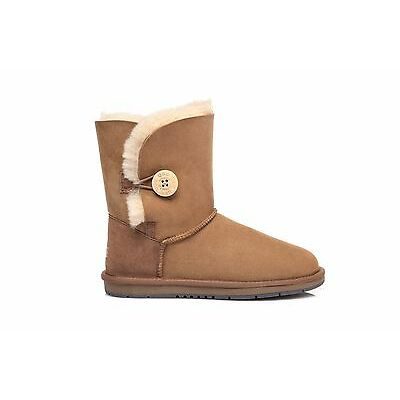UGG Women Short Classic Button Boots -Australian Premium Sheepskin Wool Non-Slip