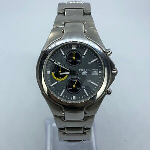 FOSSIL-BLUE-VINTAGE-STAINLESS-STEEL-MENS-WATCH-GRAY-DIAL-38mm-CH2317-RARE