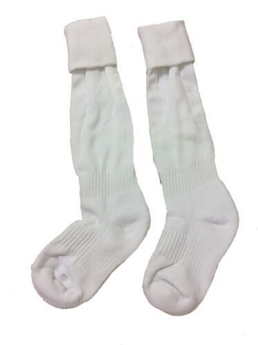 Shoe Size 2-5 E76 - FD Solid Color White Classic Youth//Child Soccer Sock