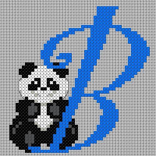 B COUNTED CROSS STITCH KIT ALPHABET PANDA
