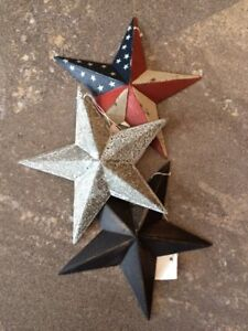 "Set of 3 ~ 8/""  GALVANIZED BARN STARS Metal Tin Primitive Country Farmhouse"