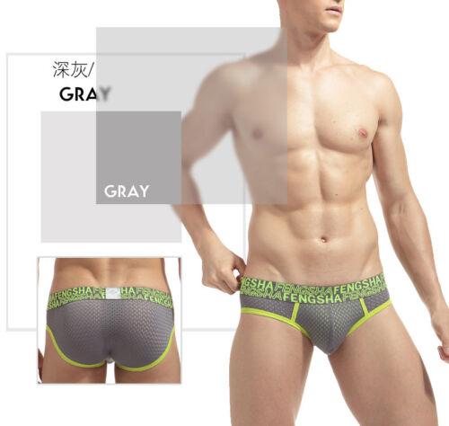 Plus Size M-3XL Men/'s Briefs Breathable Mesh Low-waist U Convex Pouch Underwear