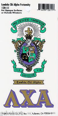 Lambda Chi Alpha, ΛΧΑ, Crest & Letter Vinyl Decal Combo  Indoor/Outdoor Use NEW