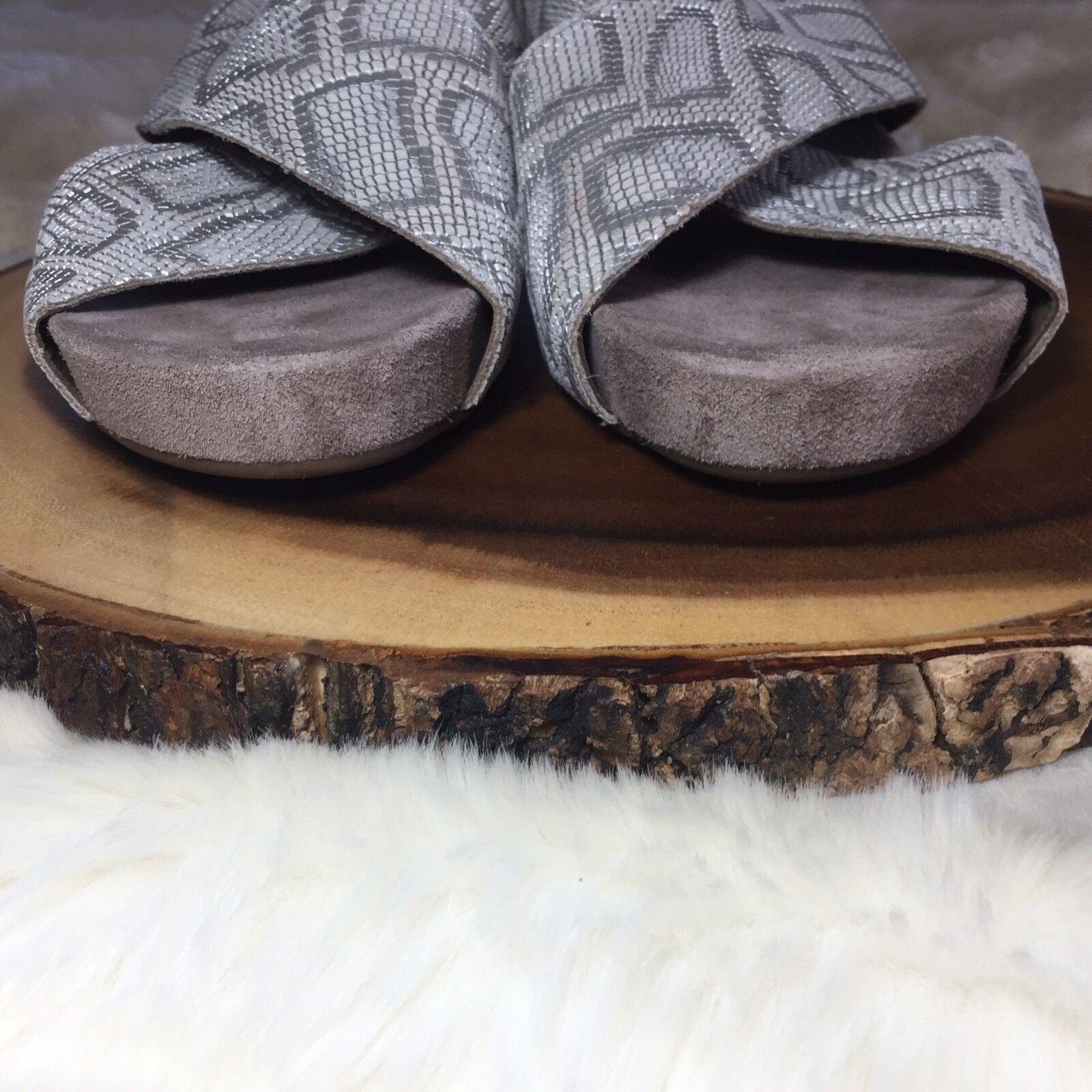 New MEPHISTO Belina 42 Slingback Wedge Sandals 42 Belina Embossed Reptile Grey Python b80315