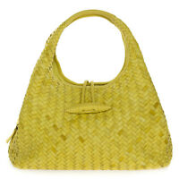 Paolo Masi Italian Made Genuine Yellow Woven Calf Leather Designer Purse Handbag