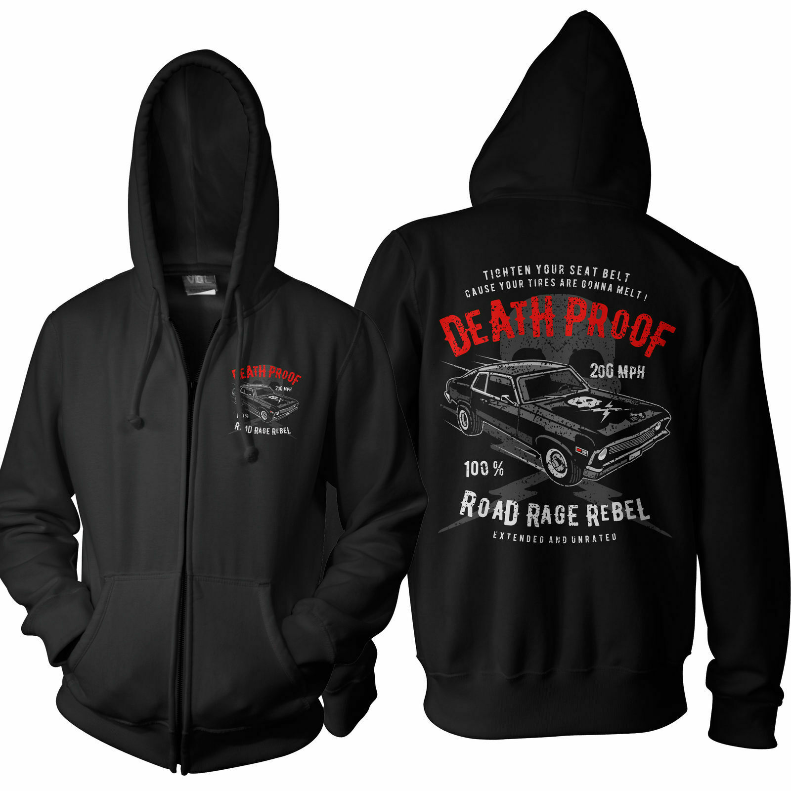Men's Zipper Hoodie Death 200 MPH Proof Car Hood NEW S-5XL dp1017zp