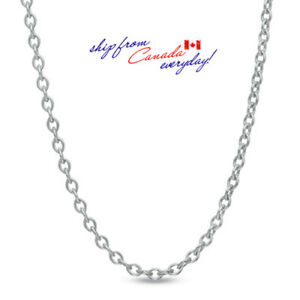 S925-Sterling-Silver-Cable-Oval-0-8mm-chain-Necklace-15-034-2-034-long-18K-GP