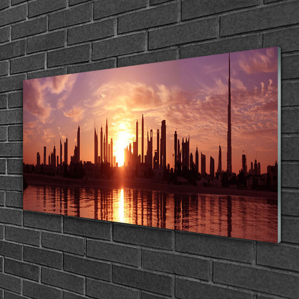 Glass print Wall art 100x50 Image Picture City Houses