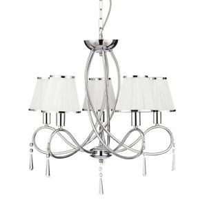 Searchlight-Simplicity-5-Lights-Chrome-White-Shades-Ceiling-Fitting-Chandelier