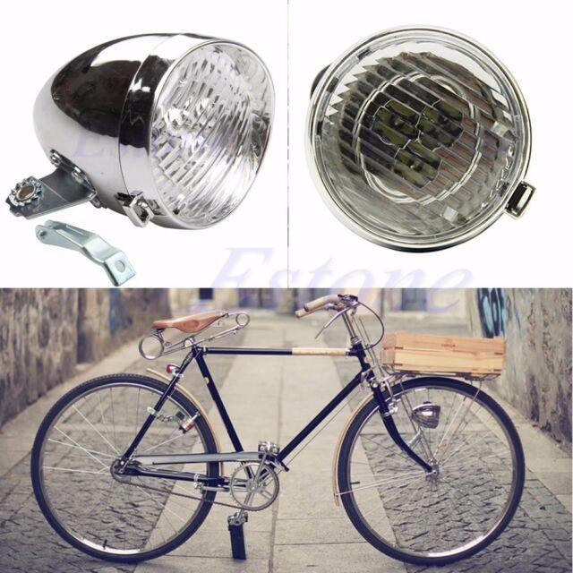 87f48915ea4 Retro Bicycle Bike Accessory Front Light Bracket Vintage 3 LED Headlight  Silver