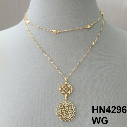 Elegant Gold Finish Filigree Cut Out Pendants Charms Layered Dainty Necklace