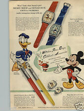 1948 PAPER AD Ball Pen Ring Mickey Mouse Donald Duck Ingersoll Sterling Silver