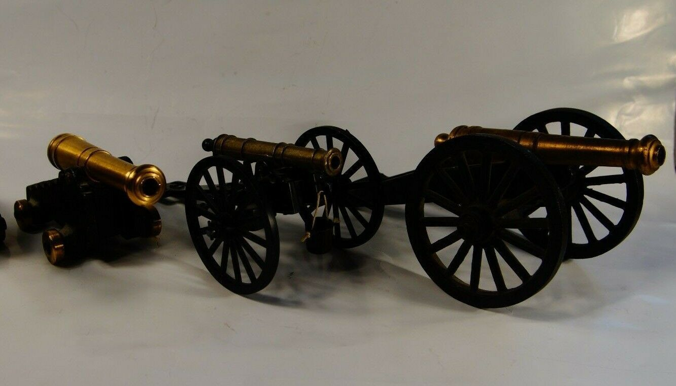 Vintage cast iron cannon cannon replica lot, nice brass civil war made in usa