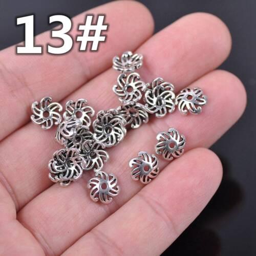 50pcs Tibetan Silver Flower Metal Loose Spacer Beads Caps for DIY Jewelry Making