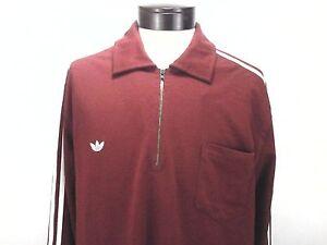 93f76ad89b ADIDAS Shirt 1/2 Zip Burgundy Red Polo Long Sleeve 3 Stripe Men's XL ...