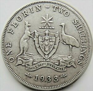 1933 AUSTRALIA George V, silver  Florin, Grading FINE.#b