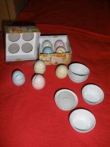 6-Dipschaelchen-selten-sehr-fein-und-8-Keramikeier-fuer-Platzkarten