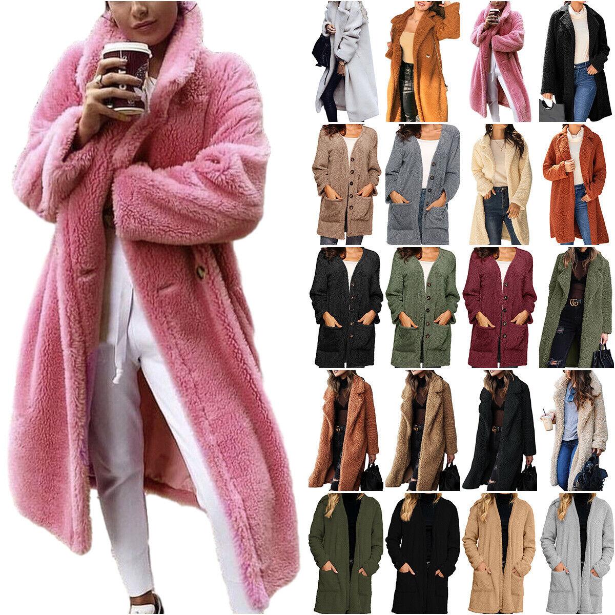 Women Teddy Bear Cardigan Long Jacket Coat Faux Fur Loose Casual Warmer Outwear