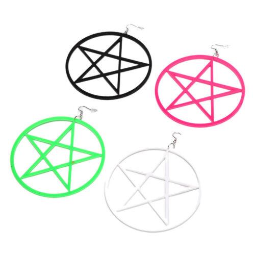 Fashion Women Big Hollow Circle Star Pentagram Dangle Drop Earrings Jewelry GiXJ