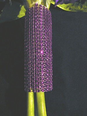 PURPLE CRYSTAL RHINESTONE LOOK BOUQUET WRAP HOLDER WEDDING BLING