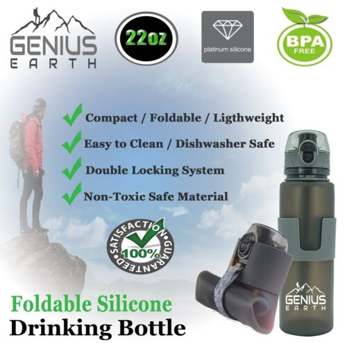 Collapsible Silicone Drink Bottle for Hiki... FOLDABLE WATER BOTTLE Portable